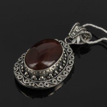 Кубачинский серебряный кулон ручной работы (камень - сердолик)