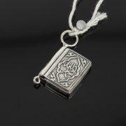 Кубачинский серебряный кулон ручной работы с гравировкой (коран малый) арт.7953