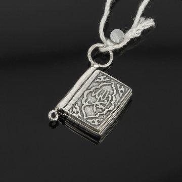Кубачинский серебряный кулон ручной работы с гравировкой (коран малый)