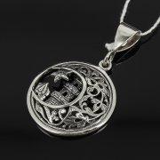 Кубачинский серебряный кулон ручной работы с гравировкой (камень - циркон) арт.7958