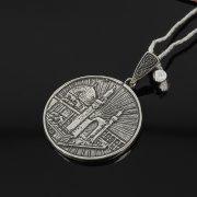 Кубачинский серебряный кулон ручной работы с гравировкой арт.7984
