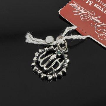 Кубачинский серебряный кулон ручной работы с гравировкой (камень - циркон)
