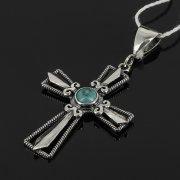 Кубачинский серебряный кулон ручной работы с гравировкой (крест, камень - бирюза)