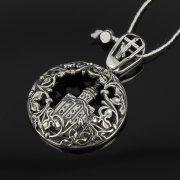 Кубачинский серебряный кулон ручной работы с гравировкой арт.8002