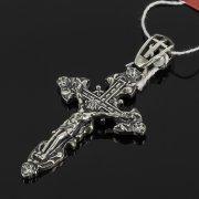 Кубачинский серебряный кулон ручной работы с гравировкой (крест, камень - циркон)