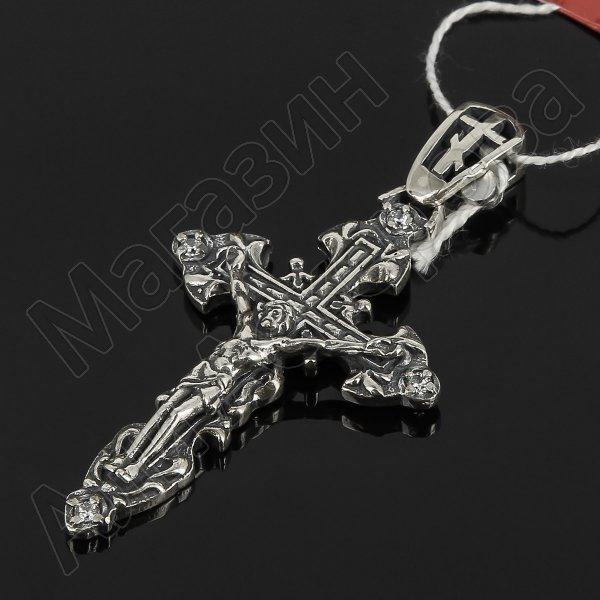Кубачинский серебряный кулон ручной работы с гравировкой (крест, камень - циркон) арт.8003