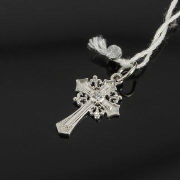 Кубачинский серебряный кулон ручной работы с гравировкой (крест малый, камень - циркон)
