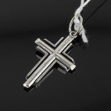 Кубачинский серебряный кулон ручной работы с гравировкой (крестик)