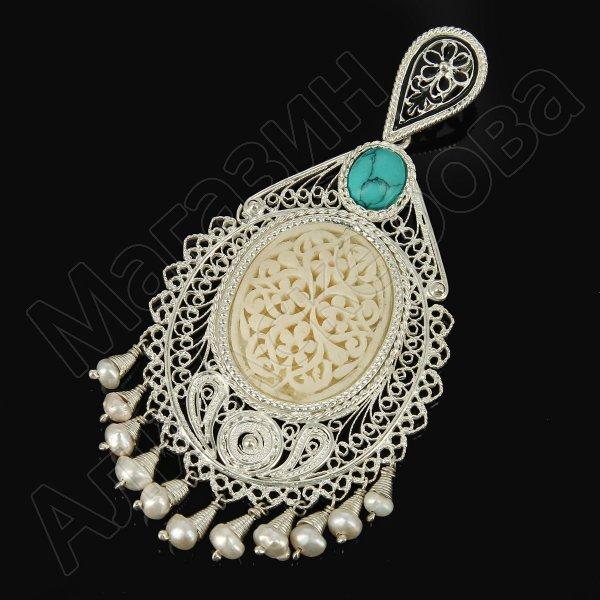 Кубачинский серебряный кулон ручной работы с филигранью (жемчуг, слоновая кость, камень - бирюза) арт.9473