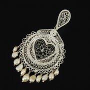 Кубачинский серебряный кулон ручной работы с филигранью (жемчуг) арт.9477