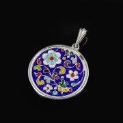 Кубачинский серебряный кулон с эмалью ручной работы арт.8725