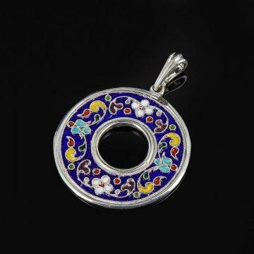 Кубачинский серебряный кулон с эмалью ручной работы