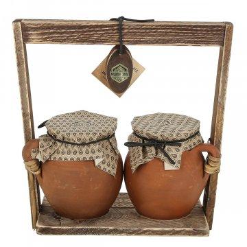 """Подарочный набор натуральный мёд в керамических горшочках """"Медовые скалы"""" (Дагестан)"""