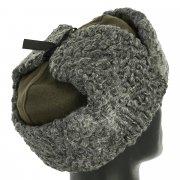 Мужская каракулевая шапка-ушанка ручной работы (сорт - валек) арт.11685