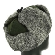 Мужская каракулевая шапка-ушанка ручной работы (сорт - валек) арт.11686