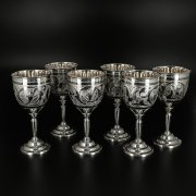 Кубачинские серебряные бокалы объемом 70 мл (6 персон) арт.10352
