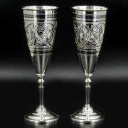 Серебряные фужеры Кубачи ручной работы (2 персоны) арт.8636