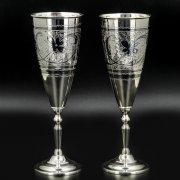 Серебряные фужеры Кубачи ручной работы (2 персоны)