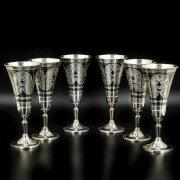 Набор серебряных рюмок Кубачи ручной работы (6 персон) арт.8663