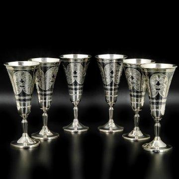 Набор серебряных рюмок Кубачи ручной работы (6 персон)
