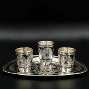Набор серебряных стопок с подносом Кубачи ручной работы (3 персоны)