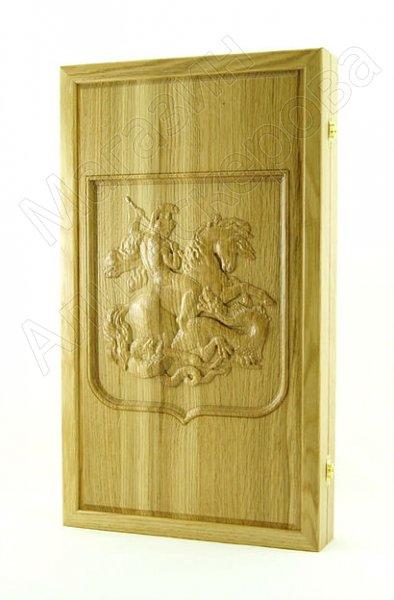 Нарды-шашки резные ручной работы Георгий Победоносец (кавказский дуб)