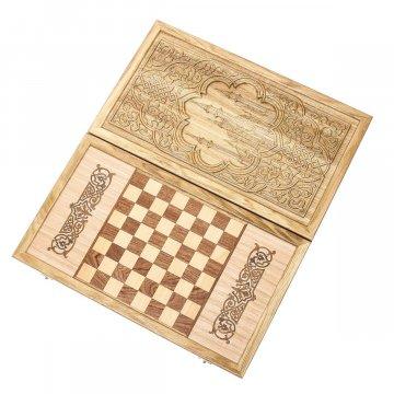 Нарды-шашки резные ручной работы Мечеть Кул-Шариф (кавказский дуб)