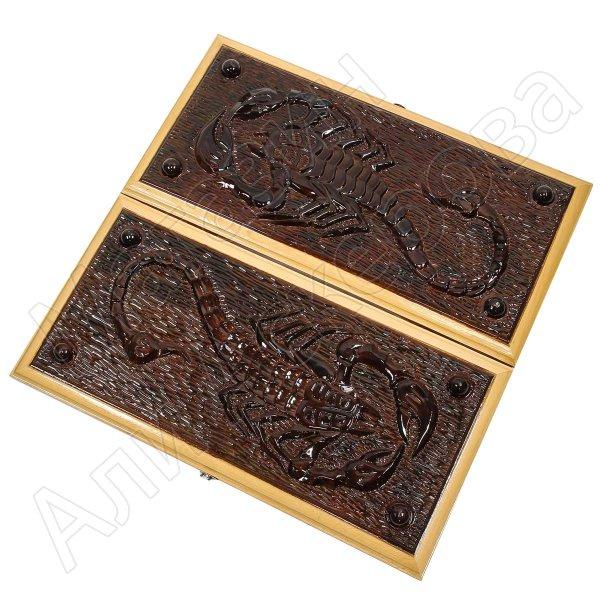 Нарды резные ручной работы Скорпион (кавказский дуб)