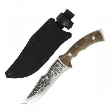 Кизлярский нож туристический Зодиак (сталь AUS-8, рукоять дерево, худож. оформл.)