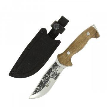 Кизлярский нож туристический Дрофа (сталь AUS-8, рукоять орех, худож. оформление)