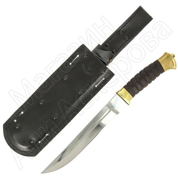 Нож пластунский в чехле (сталь 65Х13, рукоять венге) арт.5141