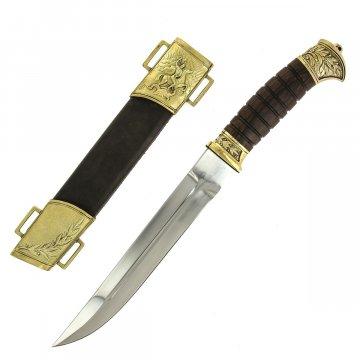 Нож пластунский (сталь 65Х13, рукоять венге, худож. литье)