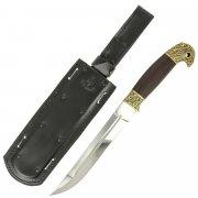 Нож пластунский в чехле (сталь - 95Х18, рукоять - венге, худож. литье) арт.5147