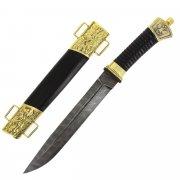 Нож пластунский (дамасская сталь, в наборе - подвес и чехол)