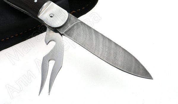 Складной нож Турист (дамасская сталь, рукоять дерево, 4-х предметный)