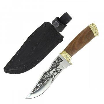 Кизлярский нож туристический Зодиак (сталь AUS-8, рукоять орех, худ. оформ.)