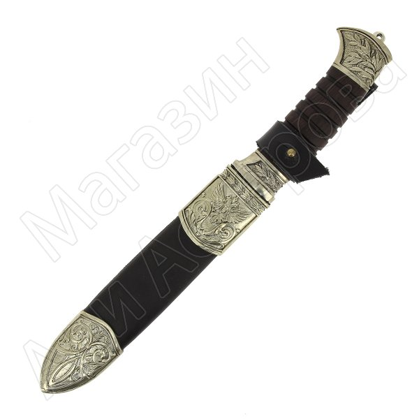 Нож пластунский Витязь (сталь - 95Х18, рукоять - венге, худож. литье) арт.6090