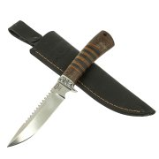 Нож Ерш (сталь 95Х18, рукоять дерево, кожа) арт.10515