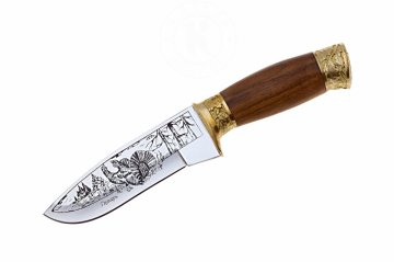 Кизлярский нож туристический Глухарь (сталь AUS-8, рукоять орех, худож. оформл.)