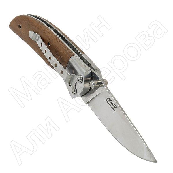Складной нож Ирбис Кизляр (сталь AUS-8, рукоять орех, стальные притины)