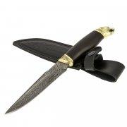 Кизлярский нож разделочный Пантера (дамасская сталь, рукоять черный граб)