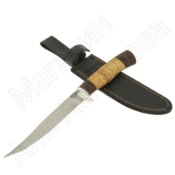 Нож Пескарь (сталь 65Х13, рукоять дерево, береста)