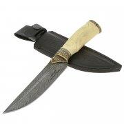 Нож Соболь (дамасская сталь, рукоять кость)