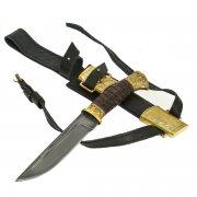 Нож пластунский Витязь (сталь - алмазная ХВ5, рукоять - венге, худож. литье)