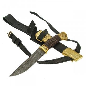 Нож пластунский Витязь (дамасская сталь, рукоять венге, худож. литье)