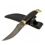 Кизлярский нож разделочный Ястреб (дамасская сталь, рукоять черный граб) арт.7049