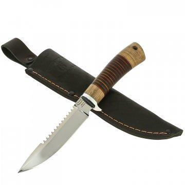 Нож Ерш (сталь 95Х18, рукоять орех, кожа)