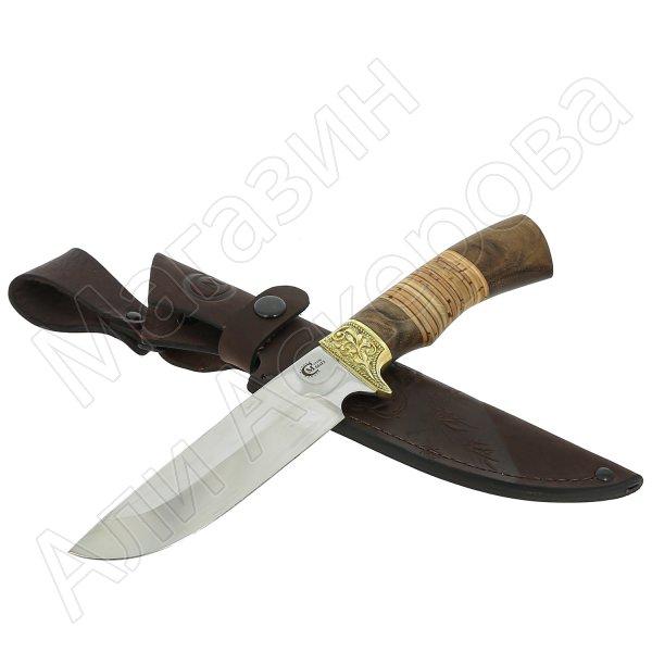 Нож Лорд (сталь 65Х13, рукоять береста, орех)