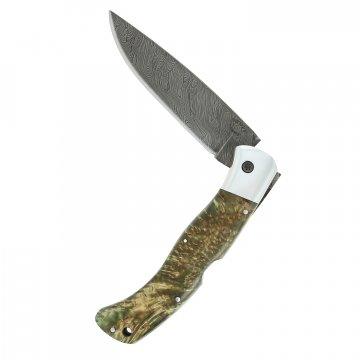 Складной нож Якутский (дамасская сталь, рукоять карельская береза)
