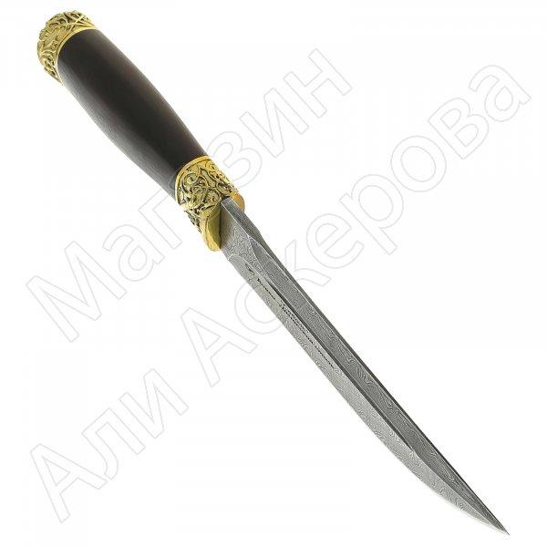 Нож Соболь (дамасская сталь, рукоять черный граб)